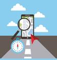smartphone maginifer compass navigation road vector image vector image