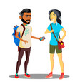 smiling muslim and asian student with backpack vector image
