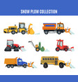 snow plow collection in flat style on white vector image vector image