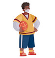 teenager african american holding a basketball vector image vector image
