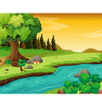 The flowing river at the forest vector image vector image