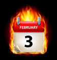 third february in calendar burning icon on black vector image vector image