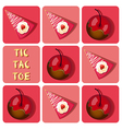Tic-Tac-Toe of chocolate covered cherry and straw vector image vector image