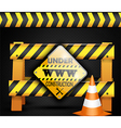 Under construction sign on background black vector image vector image