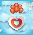 valentine background with hearts and balloons vector image