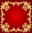 Valentines hearts red frame Greeting and floral or vector image vector image
