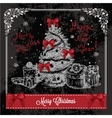 retro card with christmas tree 1 vector image