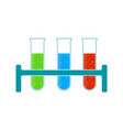 chemistry icon liquid in laboratory test tubes vector image
