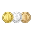 gold silver and bronze award medals set vector image