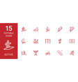 15 active icons vector image vector image