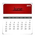 2013 calendar June vector image vector image
