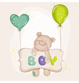 baby bear with balloons - shower vector image vector image