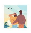 back view hugging couple looking sky landscape vector image vector image