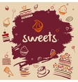 Banner hand-drawn sweets vector image vector image