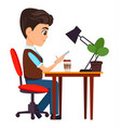 businessman sitting with smartphone at his desk vector image vector image