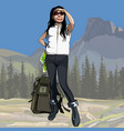 cartoon female hiker with backpack looking vector image