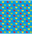 cartoon red yellow and green apples print on blue vector image