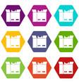 cat in a cardboard box icon set color hexahedron vector image vector image