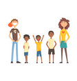 caucasian couple and three afro-american teenager vector image vector image