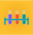 chemistry icon liquid in laboratory test tubes vector image vector image