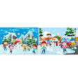 children playing with snow vector image vector image