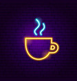 coffee cup neon sign vector image