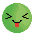 crazy face emoticon with tongue vector image
