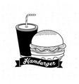 delicous hamburger with soda and ribbon vector image