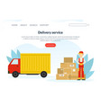 delivery service landing page template delivery vector image vector image