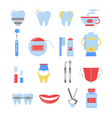 dental icon set anatomy pictures isolate vector image