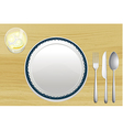 Empty plate and a bowl of lemonade vector image