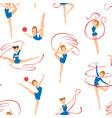 female gymnasts doing rhythmic gymnastics seamless vector image