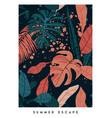 floral vertical postcard design with monstera and vector image