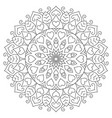 flower mandala with hearts coloring page for vector image