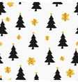 Gold foil snowflakes black christmas trees pattern