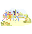 group friends play sports vector image vector image