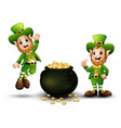 happy cartoon leprechauns with pot of gold coins vector image