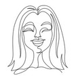 happy woman laughing one line art portrait vector image vector image