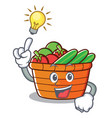 have an idea fruit basket character cartoon vector image