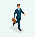 isometric a young businessman goes forward the vector image