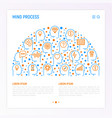 mind process concept in half circle vector image vector image