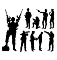 Police soldier military silhouettes vector image vector image