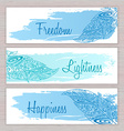 printable hippie banners with hand drawn zentangle vector image