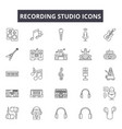 recording studio line icons signs set vector image vector image