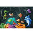 Scene with sea animals underwater vector image vector image