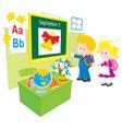 schoolboy and schoolgirl in a class vector image