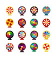 set fortune wheels lottery wheel collection vector image