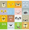 Set of Animal Faces Flat Style vector image