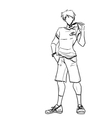 Sporty guy with glasses in shirt and shorts vector image