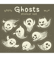 Sticker set of cute cartoon ghosts with different vector image vector image